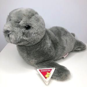 Rare Vintage 1987 Dakin Sea Mist Seal Grey Plush